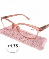 1 75 leesbrillen roze met glittertjes