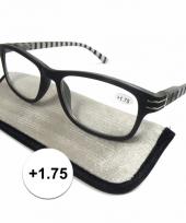 1 75 leesbrillen zwart wit gestreept