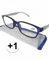 1 leesbrillen blauw met zilver