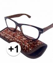 1 leesbrillen in panterprintje