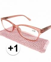 1 leesbrillen roze met glittertjes