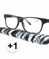1 leesbrillen zwart met gestreept hoesje