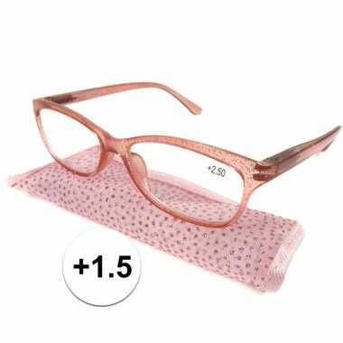 +1.5 leesbrillen roze met glittertjes