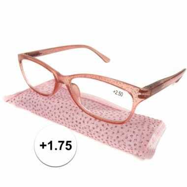 +1.75 leesbrillen roze met glittertjes