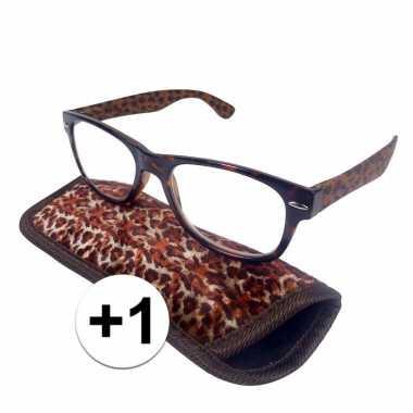 +1 leesbrillen in panterprintje