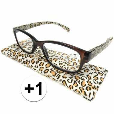 +1 leesbrillen in tijgerprint