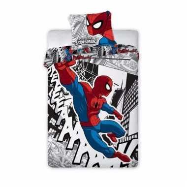1 persoons dekbedovertrek van spiderman zwart/wit