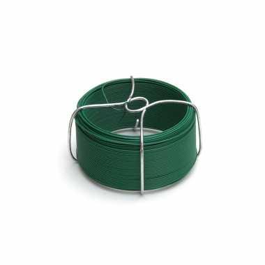 1 rolletje ijzerdraad / binddraad / wikkeldraden staal groen ommanteld 1,5 mm x 50 m