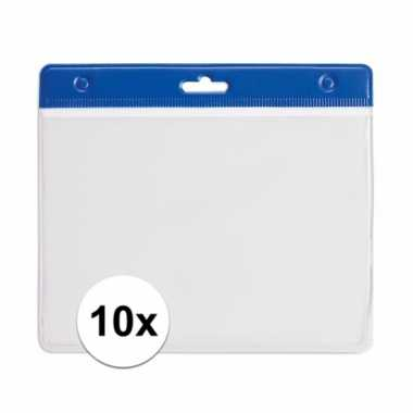 10 badgehouders voor aan een keycord blauw 11,2 x 58 cm