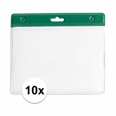 10 badgehouders voor aan een keycord groen 11,2 x 58 cm