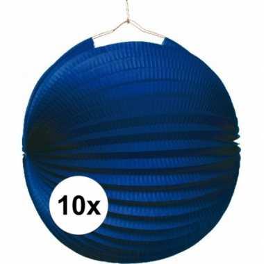 10 blauwe feest lampion 22 cm
