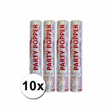 10 confetti poppers zilver 28 cm