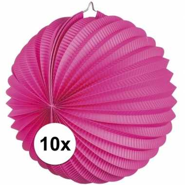 10 fuchsia roze party lampionnen