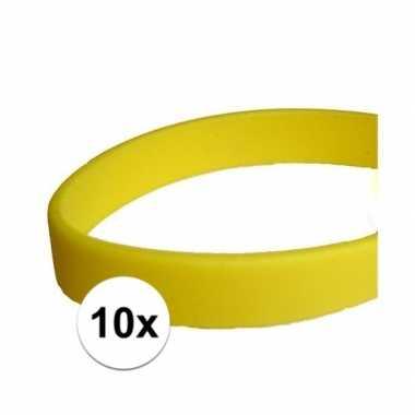10 gele polsbandjes rubber