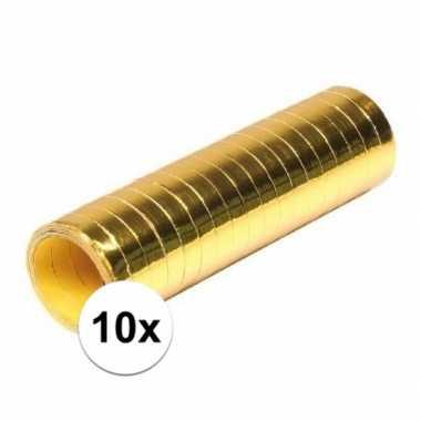 10 goudkleurige serpentinerollen