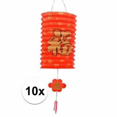 10 hangdecoratie gelukslampionnen 20 cm