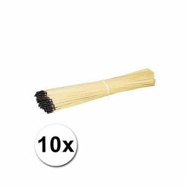 10 houten lampionnen stokjes 40 cm