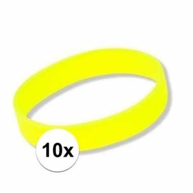 10 neon gele polsbandjes