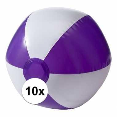 10 opblaas strandballen paars met wit