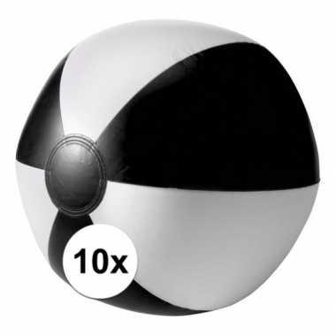 10 opblaas strandballen zwart met wit