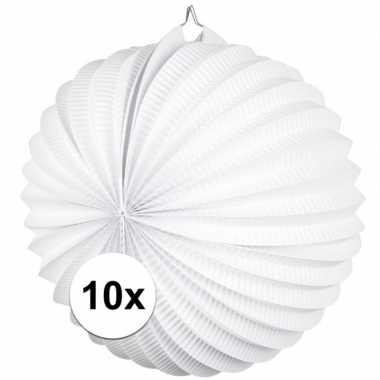 10 papieren lampionnen wit 22 cm