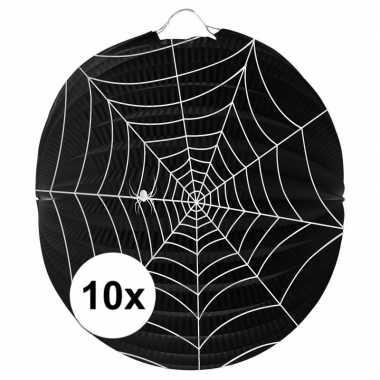 10 papieren spinnenweb lampionnen 22 cm