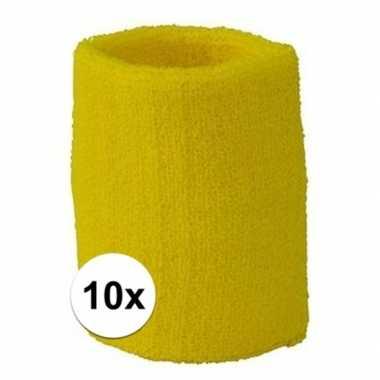 10 pols zweetbandjes team geel