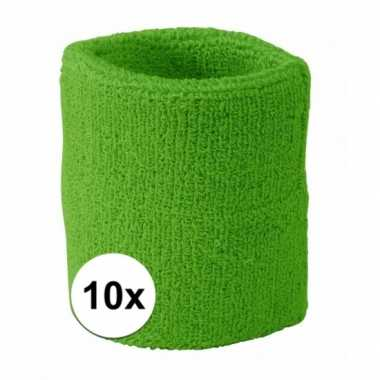 10 pols zweetbandjes team groen