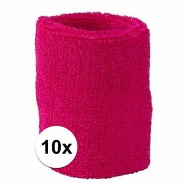 10 pols zweetbandjes team roze