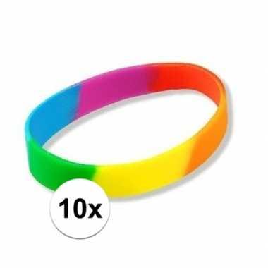 10 regenboog polsbandjes
