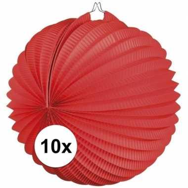 10 rode feest lampionnen 22 cm