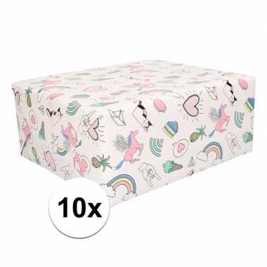 10 rollen kadopapier met unicorn print 50 x 500 cm