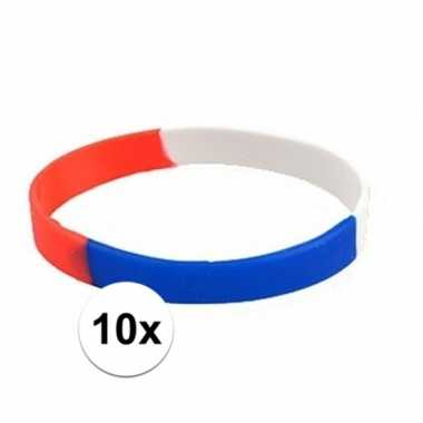 10 rubberen supporters armbandjes holland