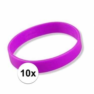 10 siliconen armbandjes paars