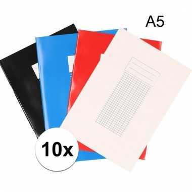 10 stuks a5 schriften met ruitjes 5 mm