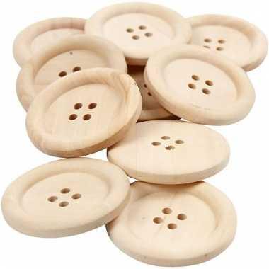 10 stuks houten knopen 3.5 cm