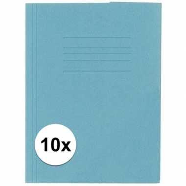10 stuks opbergmappen folio formaat blauw
