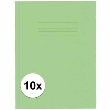10 stuks opbergmappen folio formaat groen