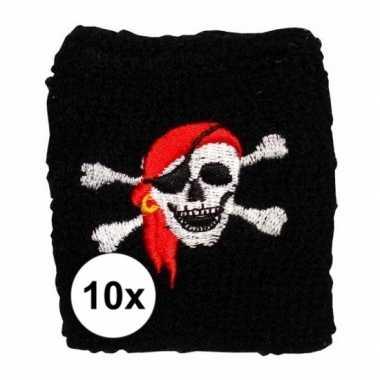 10 stuks piraat zweetbandje met schedel