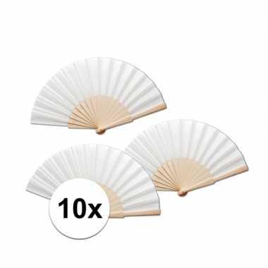 10 stuks spaanse waaiers wit 42 x 23 cm
