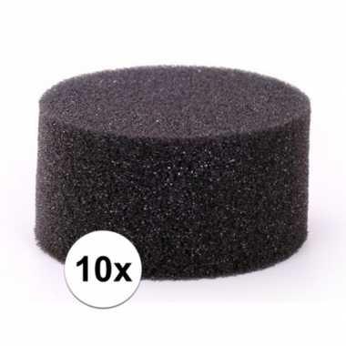 10 stuks zwarte schmink / make up sponsjes rond