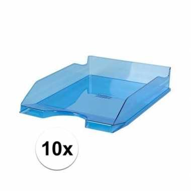 10 transparant blauwe documentenbakjes a4