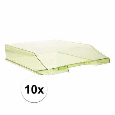 10 transparant groene documentenbakjes a4