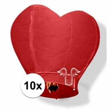 10 wensballonnen in hartvorm rood 100 cm