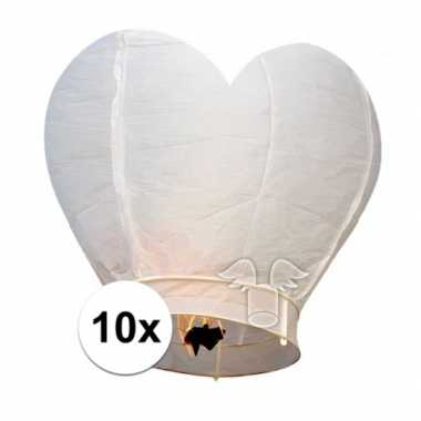 10 wensballonnen in hartvorm wit 100 cm