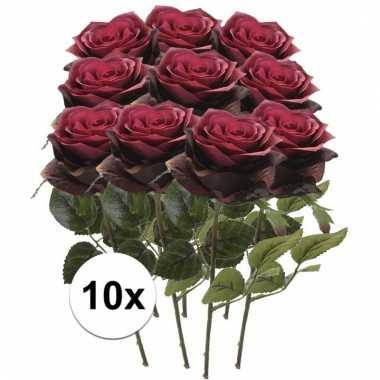 10 x donker rode roos simone 45 cm kunstplant steelbloem