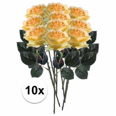 10 x gele roos simone 45 cm kunstplant steelbloem