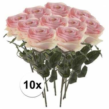 10 x licht roze roos simone 45 cm kunstplant steelbloem
