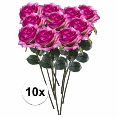 10 x paars/roze roos simone 45 cm kunstplant steelbloem
