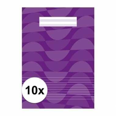 10 x paarse a4 schriften met lijntjes